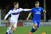 Callum Camps looks to win the ball during the EFL Sky Bet League 1 match between Peterborough United and Rochdale at London Road, Peterborough, England on 12 January 2019.