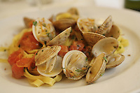 Fettuccine a la vongole, (with clams), in Gaeta..April 2006.photo by Owen Franken.........