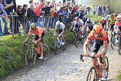 The peloton with Greg Van Avermaet (BEL) CCC Team, World Champion Alejandro Valverde (ESP) Movistar, Peter Sagan (SVK) Bora-Hansgrohe and Alexander Kristoff (NOR) UAE Team Emirates climb the Koppenberg during the 2019 Ronde Van Vlaanderen 270km from Antwerp to Oudenaarde, Belgium. 7th April 2019.<br /> Picture: Eoin Clarke | Cyclefile<br /> <br /> All photos usage must carry mandatory copyright credit (© Cyclefile | Eoin Clarke)