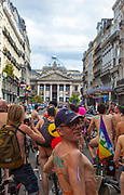 """World Naked Bike Ride Brussels 2013 World Naked Bike Ride Brussels 2013. The World Naked Bike Ride (WNBR) is an international clothing-optional bike ride in which participants plan, meet and ride together en masse on human-powered transport to """"deliver a vision of a cleaner, safer, body-positive world."""""""
