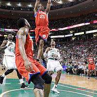 21 May 2012: Philadelphia Sixers forward Thaddeus Young (21) goes for the dunk during the Boston Celtics 101-85 victory over the Philadelphia Sixer, in Game 5 of the Eastern Conference semifinals playoff series, at the TD Banknorth Garden, Boston, Massachusetts, USA.