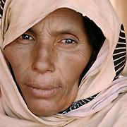 A Saharawi woman in the Western Sahara refugee camps of Tindouf, Algeria.