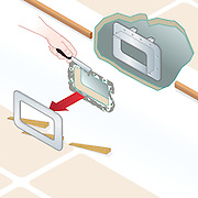 Vector isometric illustration showing how to remove a portlight from a boat's cabin side.