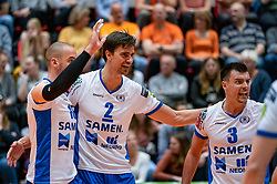 05-05-2019 NED: Achterhoek Orion - Abiant Lycurgus, Doetinchem<br /> Final Round 4 of 5 Eredivisie volleyball, Orion have a 2-1 lead in the best-of-five series but lost the fourth match 3-2 / Stijn Held #3 of Lycurgus, Wytze Kooistra #2 of Lycurgus