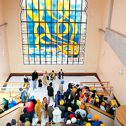London, UK - 7 April 2013: Sikhs devotees gathers inside the Southall Gundwara to celebrate Nagar Kirtan.