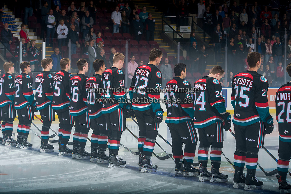 KELOWNA, CANADA - SEPTEMBER 22: Kelowna Rockets line up for home opener against the Kamloops Blazers on September 22, 2017 at Prospera Place in Kelowna, British Columbia, Canada.  (Photo by Marissa Baecker/Shoot the Breeze)  *** Local Caption ***
