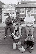 Russell Clements with kids from Hortus Road, Southall, UK, 1987.