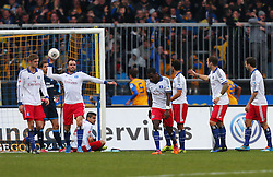Football: Germany, 1. Bundesliga<br /> Lasse Sobiech (Hamburger SV, HSV),  Heiko Westermann (Hamburger SV, HSV), Ola John (Hamburger SV, HSV), Ouasim Bouy (HSV), Pierre-Michel Lasogga (Hamburger SV, HSV), Dennis Diekmeier (Hamburger SV, HSV)