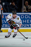KELOWNA, CANADA - OCTOBER 21: Ty Kolle #7 of the Portland Winterhawks skates with the puck against the Kelowna Rockets on October 21, 2017 at Prospera Place in Kelowna, British Columbia, Canada.  (Photo by Marissa Baecker/Shoot the Breeze)  *** Local Caption ***