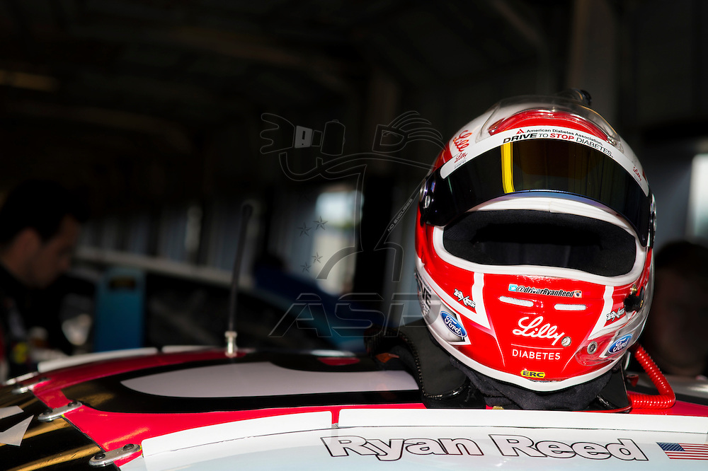 Sparta, KY - Sep 25, 2015: Ryan Reed (38) takes to the track for the first and only practice session in the Lilly Diabetes-MOMO-TraqGear-Ford Performance Ford for the ARCA Crosley Brands 150 at Kentucky Speedway in Sparta, KY.