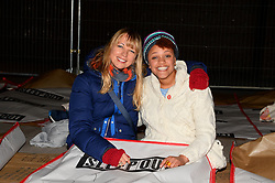 Pictured Sara Cox and Gemma Cairney. Celebrities brave the cold and sleep under the stars at Exchange Square in aid the homeless charity Centrepoint's event 'Sleep Out'. Thursday, 7th November 2013. Picture by Ben Stevens / i-Images