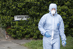 © Licensed to London News Pictures. 07/03/2019. London, UK. The scene at a property in Kew, West London, where the body of a woman has been discovered by police in a shallow grave in the garden. Laureline Garcia-Bertaux, 34, from Richmond, was reported missing after she did not turn up for work on Monday, 4 March. . Photo credit: Peter Macdiarmid/LNP