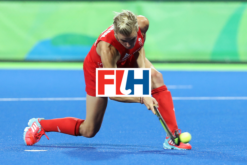 RIO DE JANEIRO, BRAZIL - AUGUST 17:  Alex Danson #15 of Great Britain scores a penalty goal during the Women's Semifinal match between New Zealand and Great Britain on Day 12 of the Rio 2016 Olympic Games at the Olympic Hockey Centre on August 17, 2016 in Rio de Janeiro, Brazil.  (Photo by Rob Carr/Getty Images)