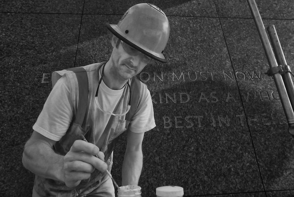 WASHINGTON (May 26, 2011) -- Third-generation stone carver 46-year-old Nicholas Benson of Newport, R.I., engraves more than a dozen quotations from the Rev. Martin Luther King Jr. into the memorial that will honor the slain civil rights leader. To commemorate the life and work of Dr. Martin Luther King, Jr., the creation of a memorial to honor his national and international contributions to world peace through non-violent social change is happening in Washington, DC.  Located in West Potomac Park, the Martin Luther King, Jr. National Memorial looks to perform an official dedication on Sunday, August 28, 2011, the 48th anniversary of the March on Washington and Dr. King's historic I Have A Dream speech.  Photo by Johnny Bivera