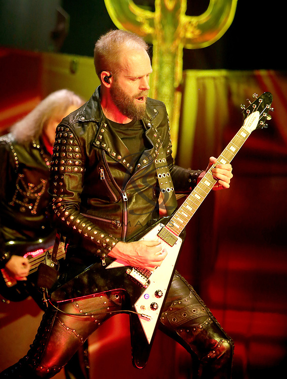 Andy Sneap of Judas Priest performs on Tuesday, April 24, 2018, in Phoenix, Arizona. (AP Images/Rick Scuteri)