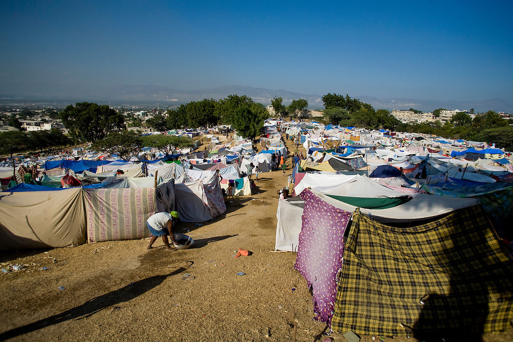 Ten days after the January 12th  earthquake Port-Au-Prince's only golf course the Pétionville Golf and Tennis Club is already transformed into the largest settlement with approximately 40,000 IDPs.