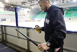 Damjan Dervaric before ice-hockey match between HDD Tilia Olimpija and EHC Liwest Black Wings Linz at second match in Semifinal  of EBEL league, on March 8, 2012 at Hala Tivoli, Ljubljana, Slovenia. (Photo By Matic Klansek Velej / Sportida)