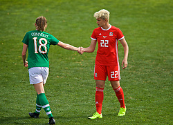 MARBELLA, SPAIN - Tuesday, March 5, 2019: Wales' Grace Horrell shakes hands with Republic of Ireland's Megan Connolly after an international friendly match between Wales and Republic of Ireland at the Estadio Municipal de Marbella. Republic of Ireland won 1-0. (Pic by David Rawcliffe/Propaganda)