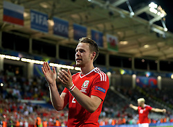 TOULOUSE, FRANCE - Monday, June 20, 2016: Wales' Chris Gunter celebrates the 3-0 victory over Russia and qualification for the knock-out stage during the final Group B UEFA Euro 2016 Championship match at Stadium de Toulouse. (Pic by David Rawcliffe/Propaganda)