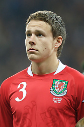 FRANKFURT, GERMANY - Wednesday, November 21, 2007: Wales' Chris Gunter lines-up before the final UEFA Euro 2008 Qualifying Group D match at the Commerzbank Arena. (Pic by David Rawcliffe/Propaganda)