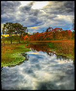 Poughkeepsie, NY: October 26, 2017--- The Fall-Kill Creek with autumn foliage and a stormy sky on the property of Val-Kill, the cottage owned by Eleanor Roosevelt. © Audrey C. Tiernan