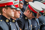 Deep in thought. A commemoration in London to mark the Centenary of the Gallipoli Campaign 25 April 2015 at the Cenotaph on Whitehall, Westminster. Descendants of those who fought in the campaign also march past, led by military personnel, as part of the ceremony. This is an addition to the usual annual ceremony organized byvThe High Commissions of Australia and New Zealand.Guy Bell, 07771 786236, guy@gbphotos.com