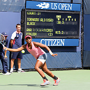 Tornado Alicia Black, USA, in action against Ana Konjuh, Croatia, during the Junior Girls' Singles Final at the US Open. Flushing. New York, USA. 8th September 2013. Photo Tim Clayton