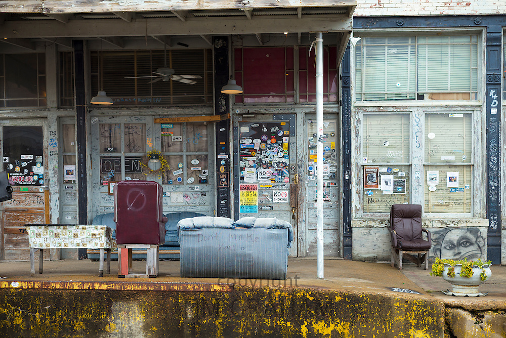 Front entrance of Morgan Freeman's Ground Zero Blues Club in Clarksdale, birthplace of the Blues, Mississippi USA