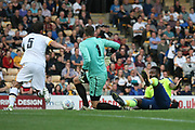 Derby County's Darren Bent appeals for a penalty during the Pre-Season Friendly match between Port Vale and Derby County at Vale Park, Burslem, England on 18 July 2017. Photo by John Potts.