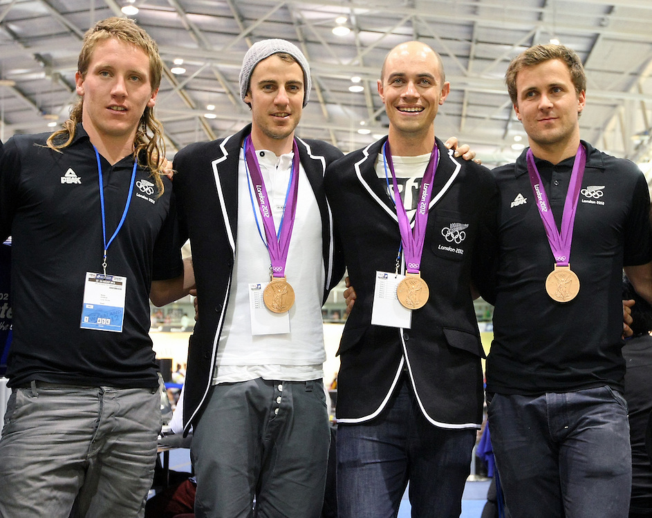 New Zealand olympian cyclist, lefts, Shane Archbold, Marc Ryan, Westley Gough, Simon Van Velthooven, at the UCI Juniors World Track Cycling Championships, Invercargill Velodrome, Invercargill, New Zealand, Friday, August 24, 2012. Credit:SNPA / Dianne Manson