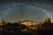 The Milky Way rises over a footbridge at Patagonia Lake State Park in southern Arizona.