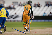 Ricky Ponting bowled during the ICC World Twenty20 Cup match between Australia and Sri Lanka at Trent Bridge, Nottingham. Photo © Graham Morris (Tel: +44(0)20 8969 4192 Email: sales@cricketpix.com)