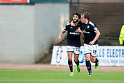 Dundee forward Faissal El Bakhtaoui (#20) celebrates Dundee's first goal (1-0) with Dundee forward Paul McGowan (#18) during the Betfred Scottish Cup match between Dundee and Dundee United at Dens Park, Dundee, Scotland on 9 August 2017. Photo by Craig Doyle.