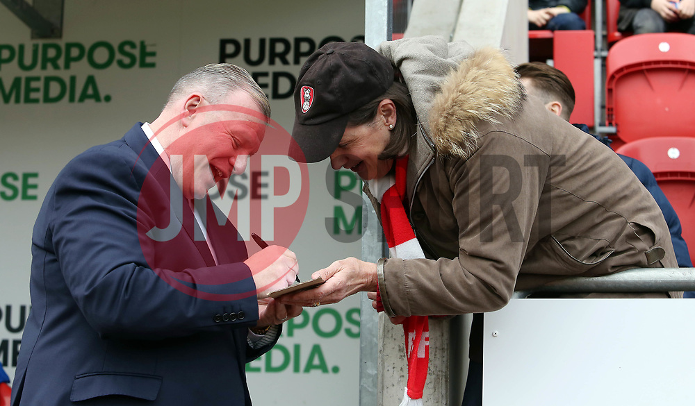 Peterborough United Manager Steve Evans signs an autograph for a Rotherham United supporter on his return to his former club - Mandatory by-line: Joe Dent/JMP - 30/03/2018 - FOOTBALL - Aesseal New York Stadium - Rotherham, England - Rotherham United v Peterborough United - Sky Bet League One