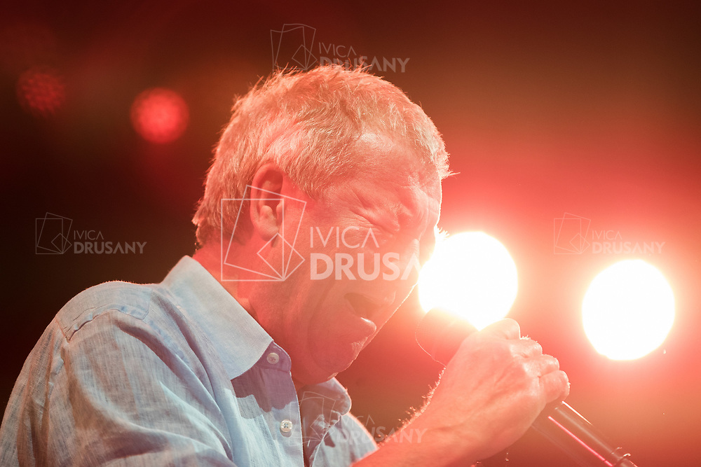 ZAGREB, CROATIA - MAY 16, 2017: Deep Purple performing during their The Long Goodbye tour at Arena Zagreb. Portrait of Ian Gillan.