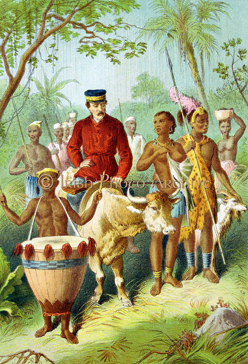 David Livingstone (1813-183) Scottish missionary and explorer. During African travels explored the Zambesi and 'discovered' Victoria Falls.Livingstone, weak with fever, being escorted into Shinte's town. From 'The Life and Explorations of David Livingstone