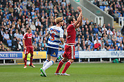 Middlesbrough striker Kike appeals for a handball during the Sky Bet Championship match between Reading and Middlesbrough at the Madejski Stadium, Reading, England on 3 October 2015. Photo by Jemma Phillips.