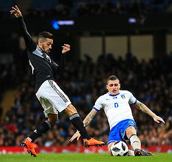 Marco Verratti of Italy tackles Manuel Lanzini of Argentina - Mandatory by-line: Matt McNulty/JMP - 23/03/2018 - FOOTBALL - Etihad Stadium - Manchester, England - Argentina v Italy - International Friendly