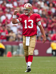 October 11, 2009; San Francisco, CA, USA;  San Francisco 49ers quarterback Shaun Hill (13) celebrates after a play during the second quarter against the Atlanta Falcons at Candlestick Park. Atlanta won 45-10.