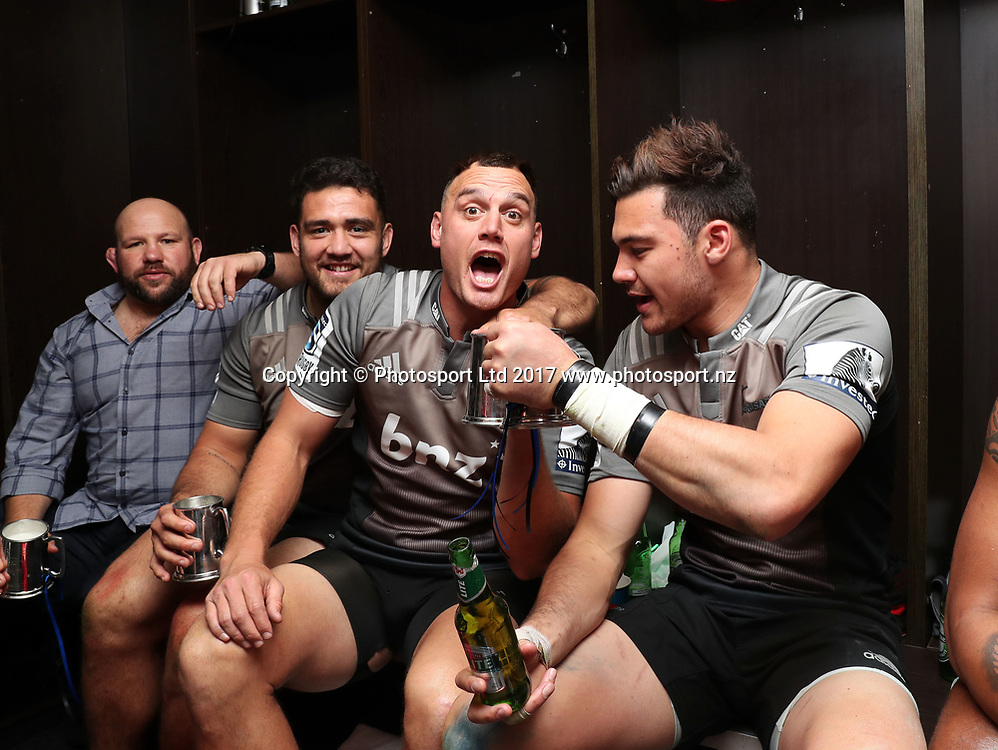 Crusaders players, Israel Dagg, celebrate in change room after winning the 2017 Super Rugby Final against the Lions at Ellis Park, Johannesburg on 05 August 2017 ©Gavin Barker/BackpagePix / www.photosport.nz