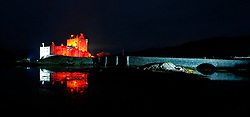 Eilean Donan Castle is one of the most recognised castles in Scotland. It is lit up red until 12 November in support of the Scottish Poppy Appeal.. .. (c) Stephen Lawson | Edinburgh Elite media