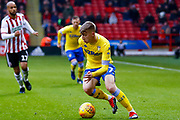 Leeds United forward Jack Clarke (47) in action  during the EFL Sky Bet Championship match between Sheffield United and Leeds United at Bramall Lane, Sheffield, England on 1 December 2018.