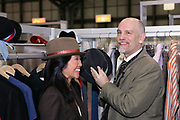 """NEW YORK - JANUARY 17: [EXCLUSIVE] Actor John Malkovitch previews his new design collection """"Uncle Kimono"""" at Project Global Trade Show New York 2006 at the Javitz Center in New York, January 17th 2006 in New York City.   (Photo by Matthew Peyton)"""