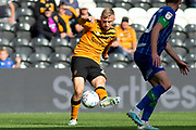 Jarrod Bowen of Hull City has a shot during the EFL Sky Bet Championship match between Hull City and Wigan Athletic at the KCOM Stadium, Kingston upon Hull, England on 14 September 2019.