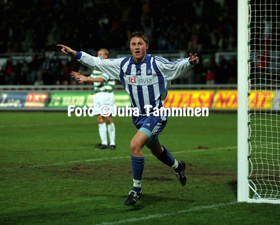 28.09.2000, Finnair Stadium, Helsinki, Finland. UEFA Cup 1st round 2nd leg match, HJK Helsinki v Celtic FC. .Paulus Roiha (HJK) celebrates after scoring the second goal..©JUHA TAMMINEN