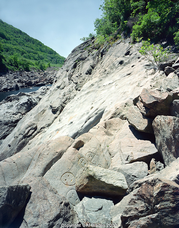 Presumed Native American petroglyphs of unknown origin, on the Connecticut River natural channel, Bellows Falls, VT