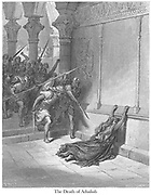 Death of Athaliah 2 Chronicles 23:13-15 From the book 'Bible Gallery' Illustrated by Gustave Dore with Memoir of Dore and Descriptive Letter-press by Talbot W. Chambers D.D. Published by Cassell & Company Limited in London and simultaneously by Mame in Tours, France in 1866