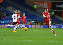Cardiff City's Craig Noone strikes a volly outside the box. - Photo mandatory by-line: Alex James/JMP - Mobile: 07966 386802 - 06/12/2014 - SPORT - Football - Cardiff - Cardiff City Stadium  - Cardiff City v Rotherham United  - Football