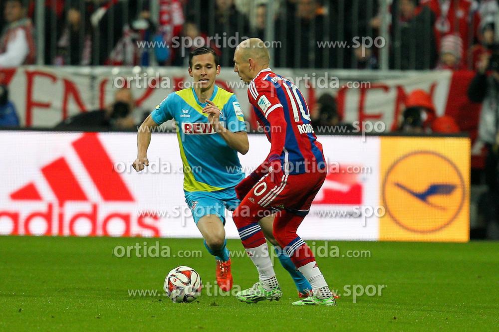 27.02.2015, Allianz Arena, Muenchen, GER, 1. FBL, FC Bayern Muenchen vs 1. FC K&ouml;ln, 23. Runde, im Bild l-r: im Zweikampf, Aktion, mit Pawel Olkowski #16 (1. FC Koeln) und Arjen Robben #10 (FC Bayern Muenchen) // during the German Bundesliga 23rd round match between FC Bayern Munich and 1. FC K&ouml;ln at the Allianz Arena in Muenchen, Germany on 2015/02/27. EXPA Pictures &copy; 2015, PhotoCredit: EXPA/ Eibner-Pressefoto/ EXPA/ Kolbert<br /> <br /> *****ATTENTION - OUT of GER*****