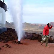 Heat from the volcano transform water into vapor in the  Timanfaya National Park / Montañas del Fuego in Lanzarote.